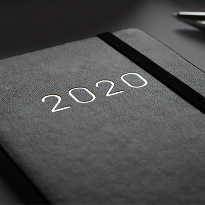 black 2020 planner on desk