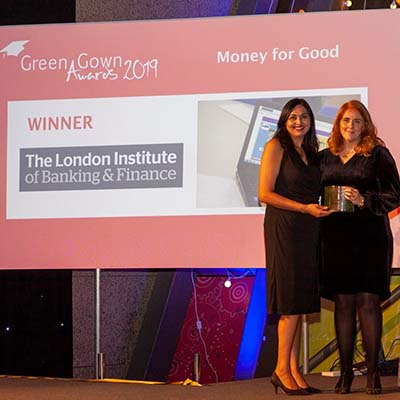 Catherine Winter and Hema Tank receive the Green Gown Award