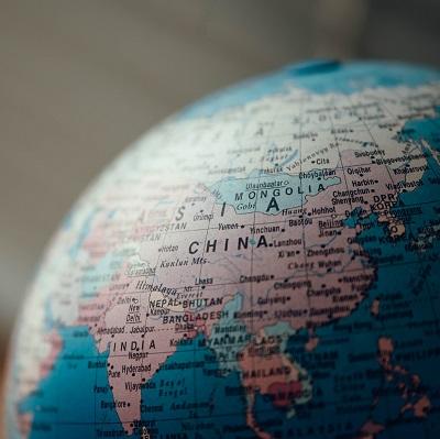 Map of China on a globe