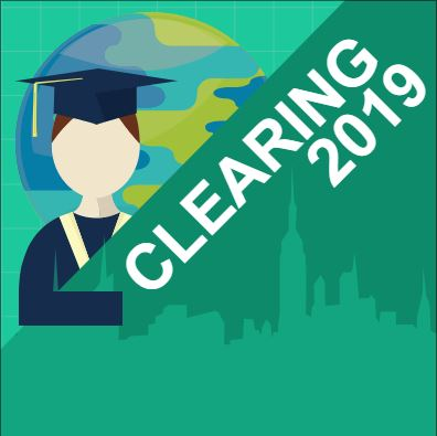Graphic of graduate with words Clearing 2019