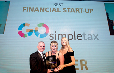 Paul Lynam, our chair of judges, Amanda Swale, Director of GoSimpleTax, and Tess Daly at the Financial Innovation Awards
