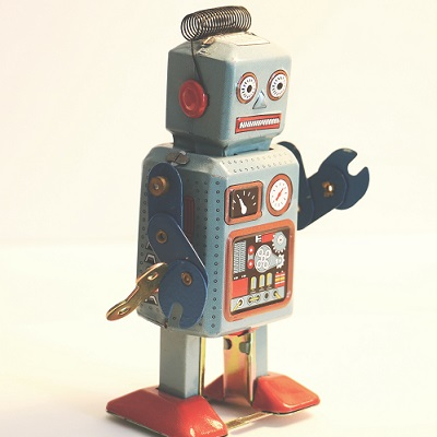 Old-fashioned robot grimacing