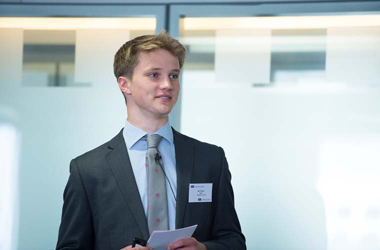The competition's aim is also to help key employability skills such as researching, teamwork and confidence. In this picture, a student from the Abingdon School showcases his team's presentation
