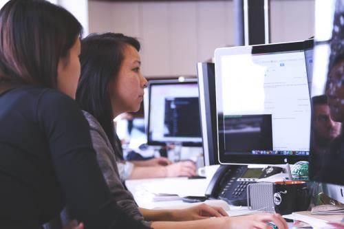 Women working at computer