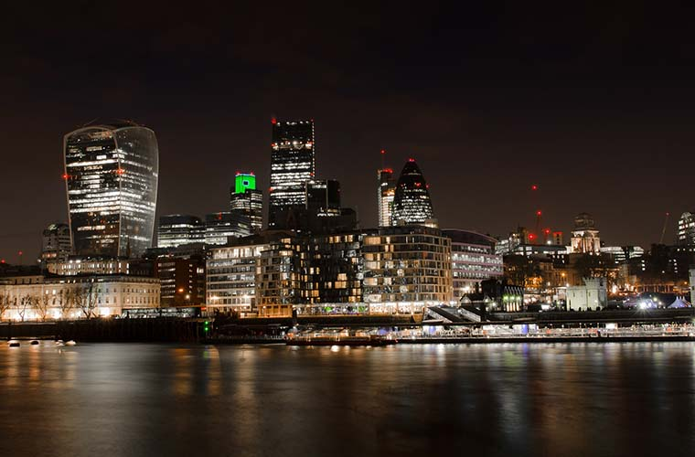 city of london skyline at night