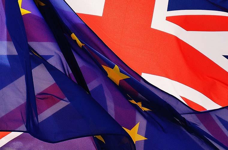 EU and British flags