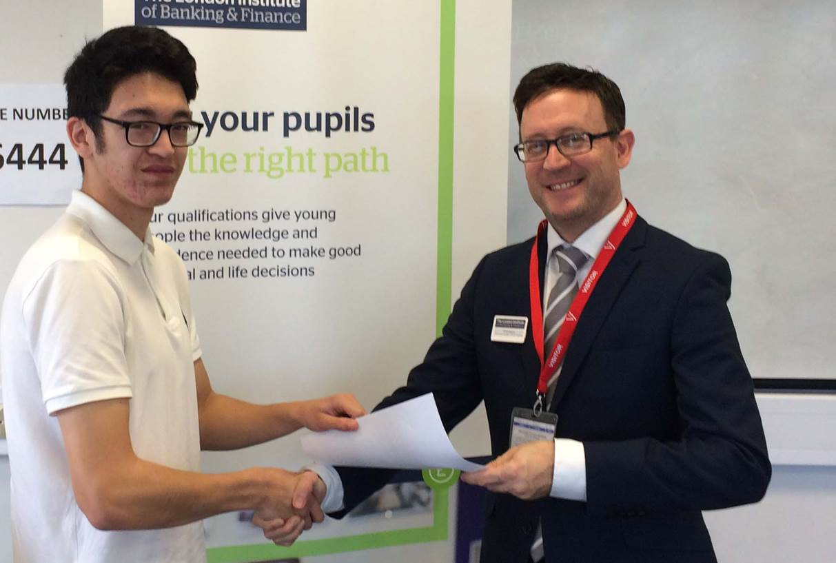 The Sixth Form College in Colchester student Dominic with David Anderson