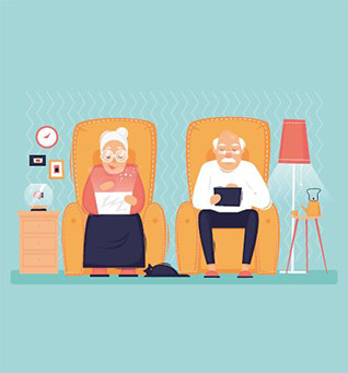 Grandmother and grandfather icon